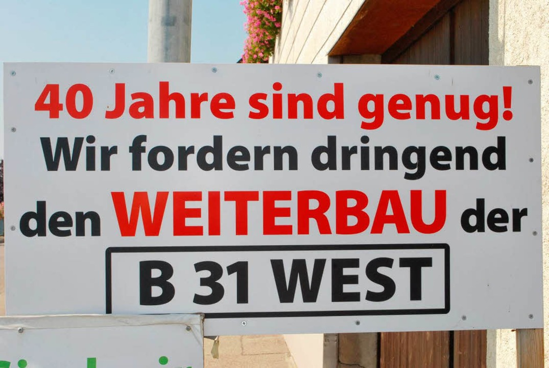 Bürgerprotest an der Wasenweiler Ortsdurchfahrt  | Foto: Benjamin Bohn