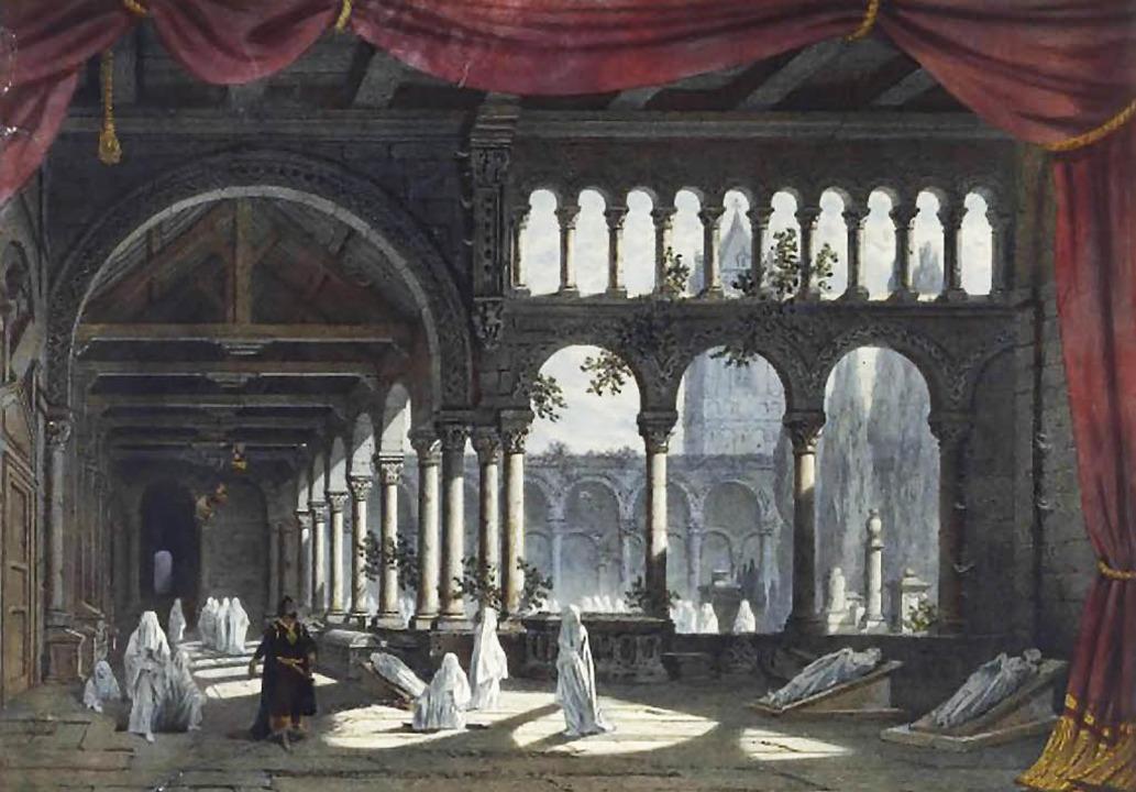 Die berühmte Nonnenszene aus Meyerbeer...Pariser Oper (Salle le Peletier), 1831  | Foto: Wikipedia
