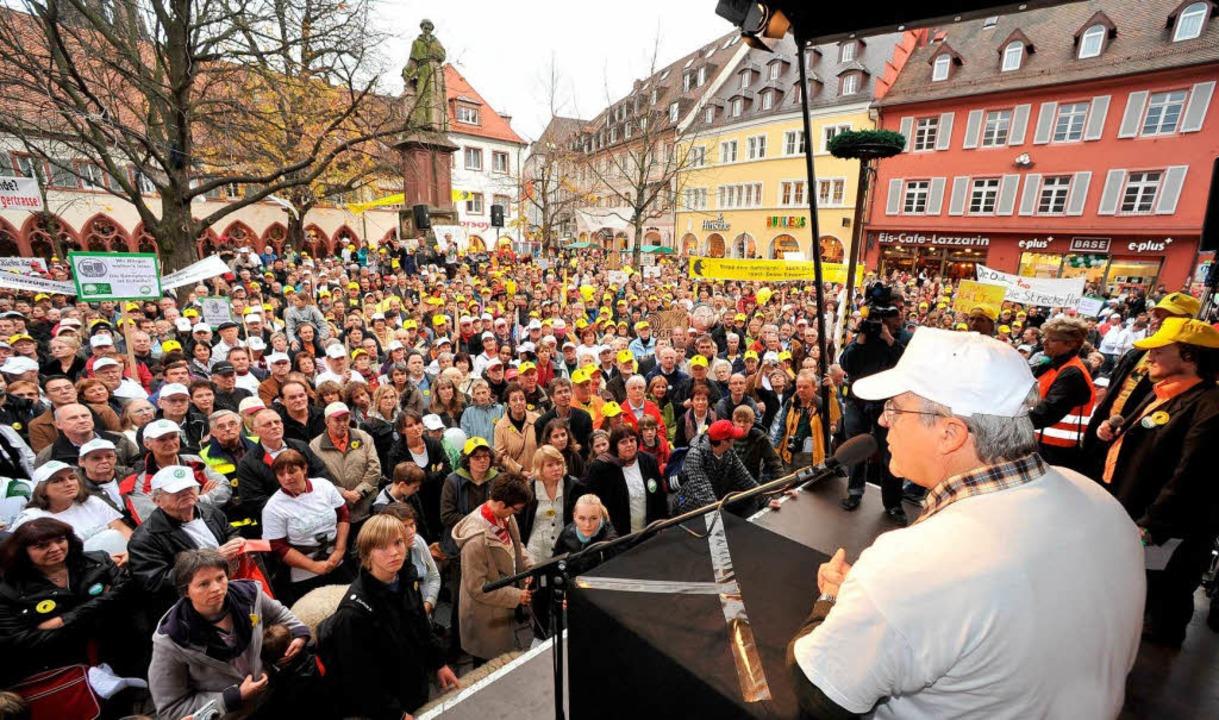 IG Bohr bei einer Kundgebung in Freiburg im November 2009  | Foto: Michael Bamberger