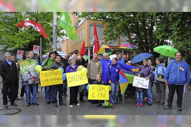 Protest gegen die Kandidatur von NPD-Bewerbern