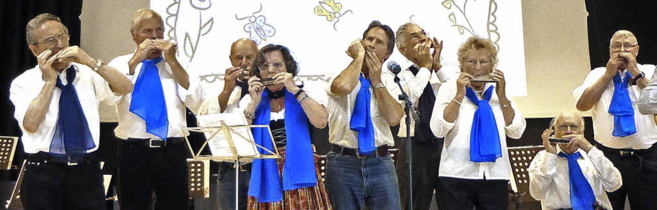Die Mundharmonikafreunde Breisgau bei ihrem Auftritt im Forum.  | Foto: Anne freyer