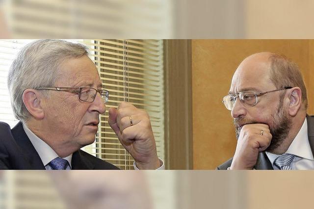 TV-Duell zwischen Spitzenkandidaten Schulz und Juncker
