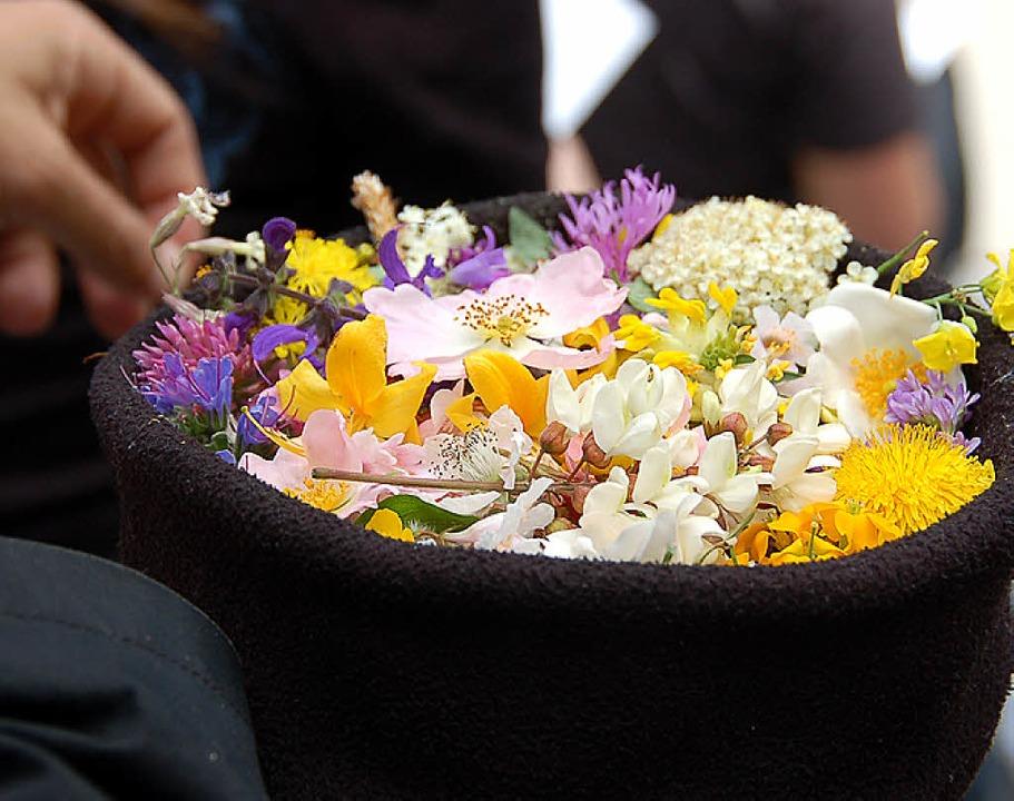 Eine Mütze voll Blüten sammelte Lorenzo Romito in Birsfelden.    Foto: Annette Mahro