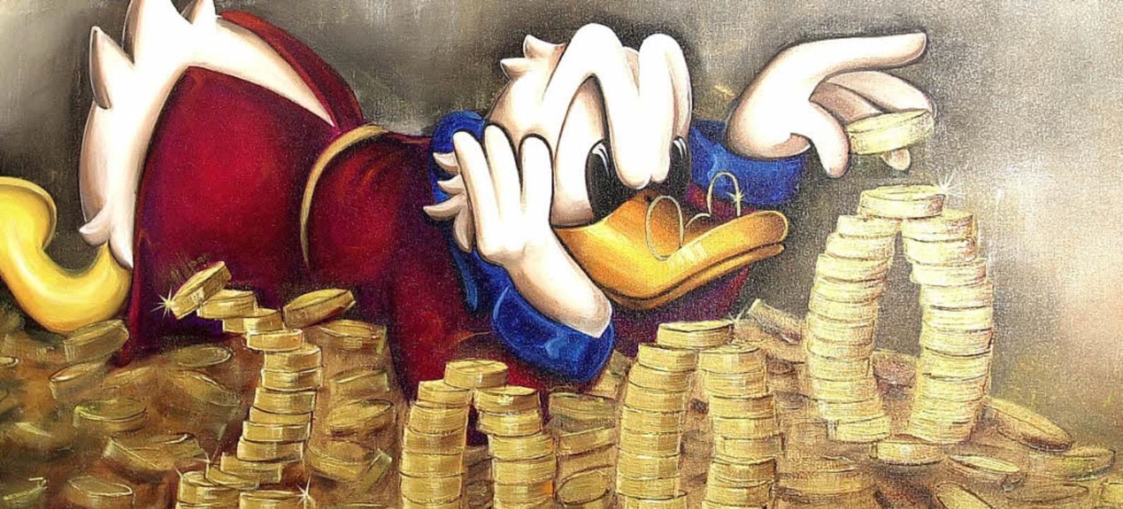 Ob die neuen Reichen auch im Geld baden wie Onkel Dagobert?    Foto: DPA