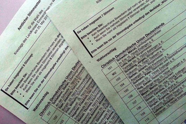 Falsche Stimmzettel für Kreistagswahl in Endingen