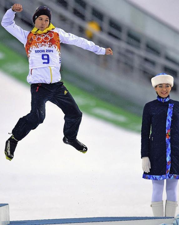 Hochgefühl: Treppchenflieger Fabian Ri...den Olympischen Spielen in  Sotschi.    | Foto: dpa