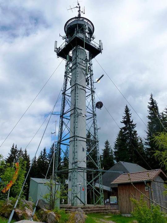 Der Turm ist mit vier Doppelseilen abgespannt, einige sind lasch.  | Foto: Peter Stellmach