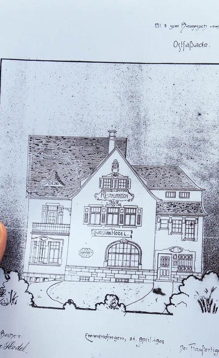 Blaupause eines Entwurfs einer Restauration  | Foto: Georg Voß