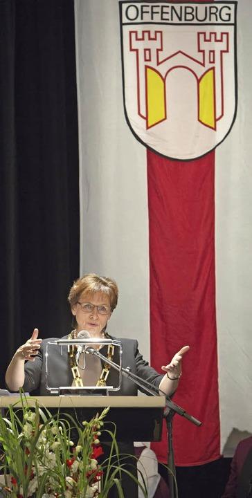 OB Edith Schreiner bei der Feier 40 Jahre Städtepartnerschaft Offenburg Weiz    Foto: Ünver Faruk