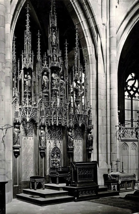 Die Kathedra im Freiburger Münster auf...e, wesentlich schmucklosere  Ansicht.     Foto: Augustinermuseum/Thomas Kunz