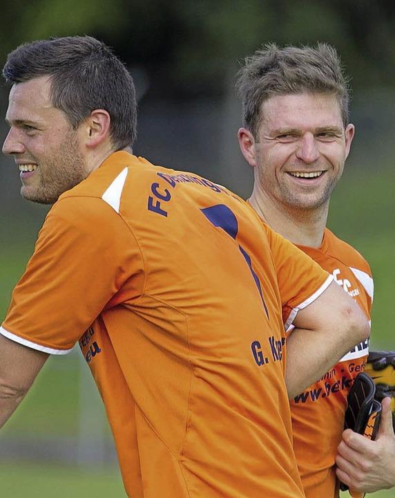 Happy: Gregor Kuwert (links) und Alexander Christ     Foto: Daniel Fleig