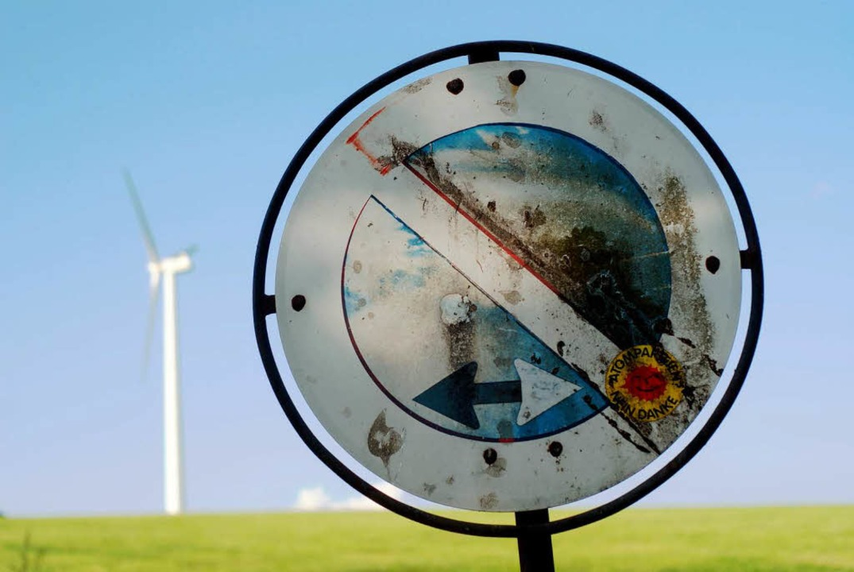 Windkraftanlage auf der Platte bei St. Peter.     Foto: Christian John