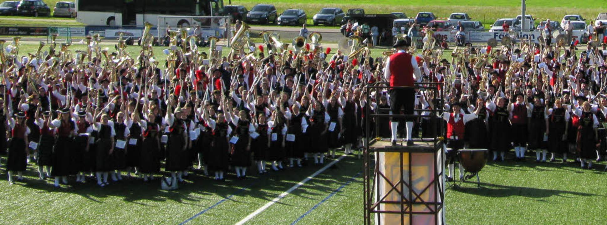 Rund 500 Musiker bildeten einen mächtigen gesamtchor.   | Foto: Ulrike Spiegelhalter