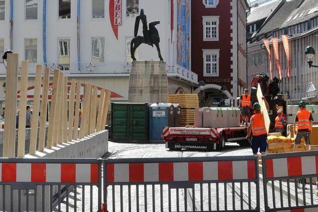 Baustelle rund um den Bertoldsbrunnen – Behinderungen in Freiburgs City