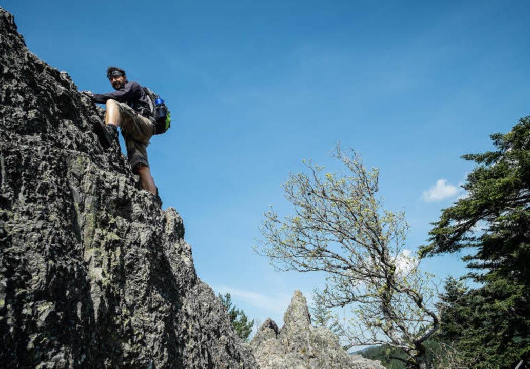 Klettersteig Schwarzwald : Felsiger klettersteig wanderung auf dem karlsruher grat