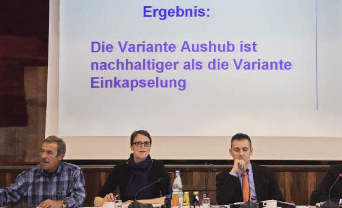 Bei der Präsentation des Nachhaltigkei...m Bauamt sowie Bürgermeister Jörg Lutz  | Foto: Ralf Dorweiler