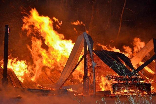 Scheune der Reuentaler Mühle in Wutöschingen brennt nieder