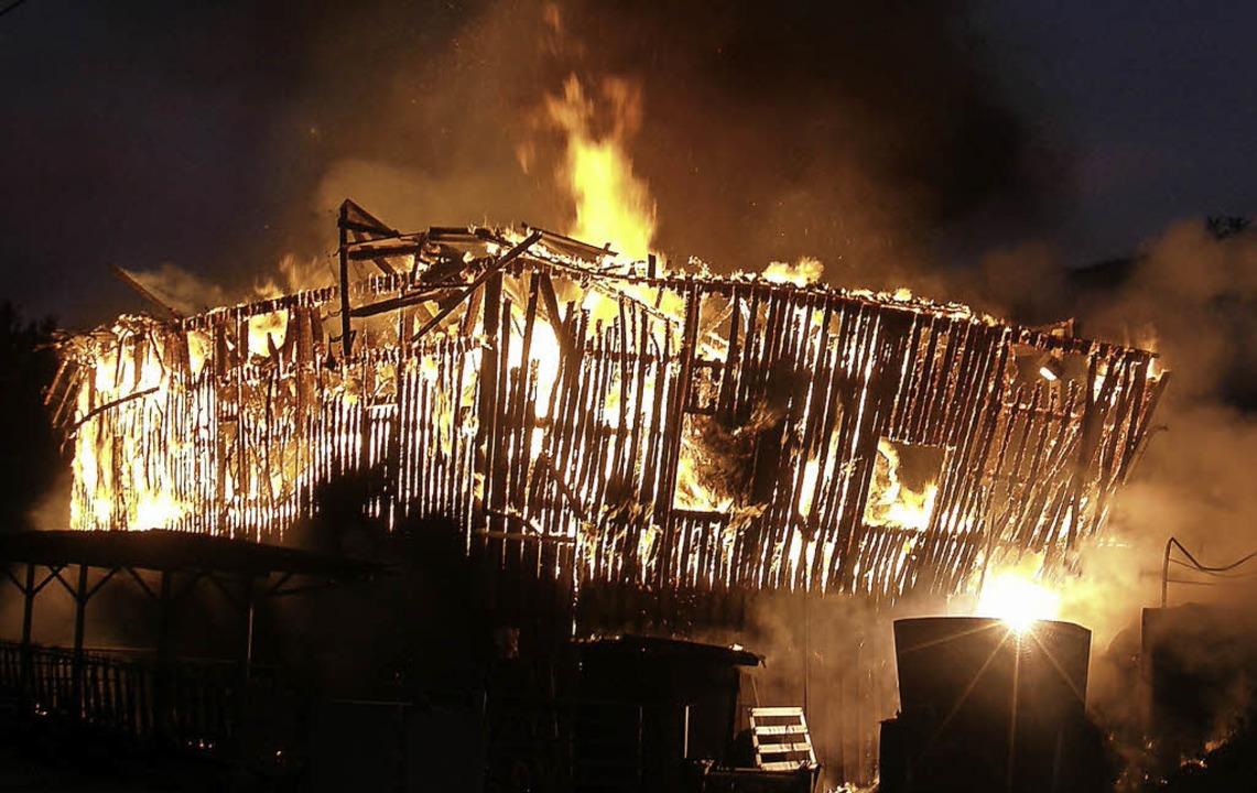 Binnen wenigen Minuten brannte das Ökonomiegebäude komplett nieder.   | Foto: (2) heidi fössel