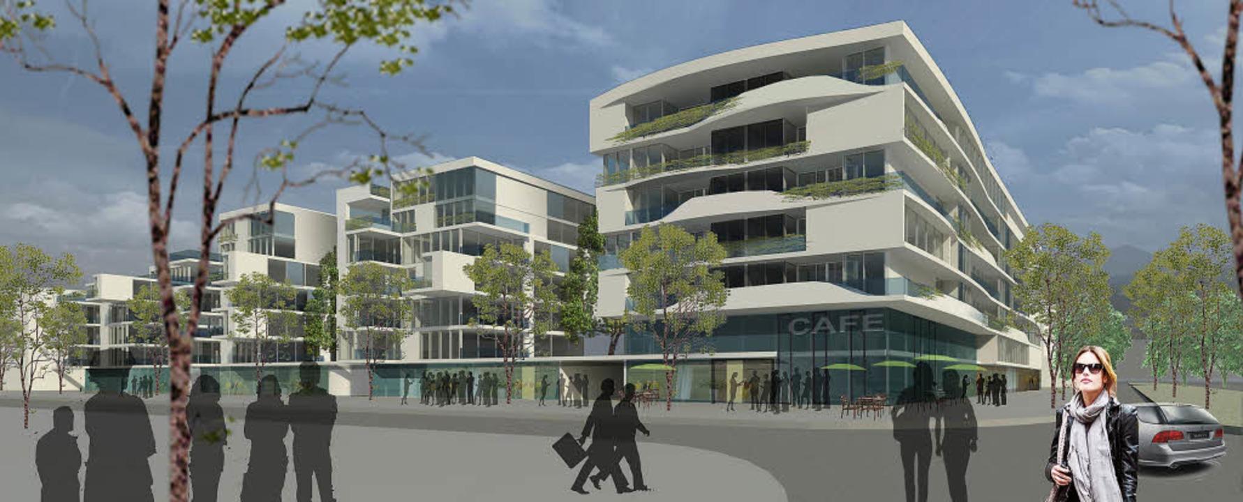So ähnlich wird es künftig entlang der...axen, Wohnungen und einem Pflegeheim.   | Foto: Visualisierung: Kühnl & Schmidt