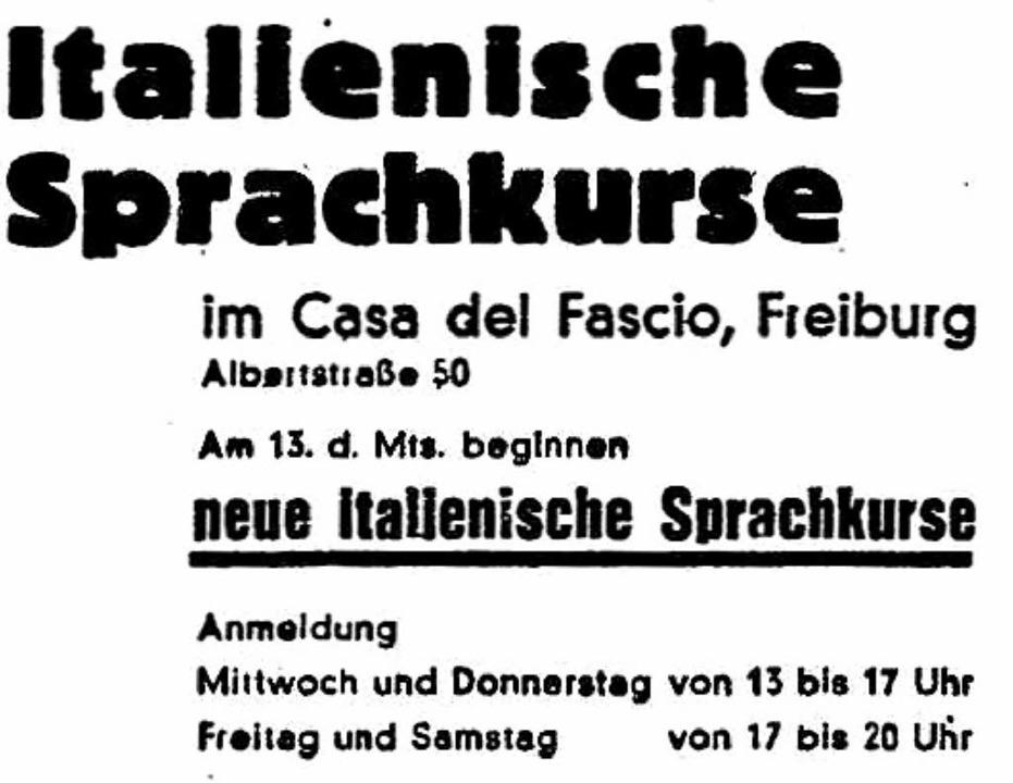 Anzeige aus der Freiburger Zeitung vom 8. Januar 1941    Foto: privat