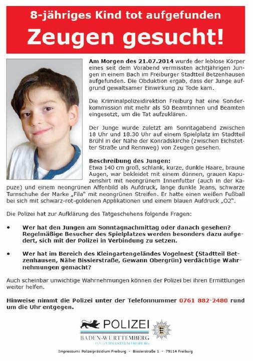 Die Polizei hofft auf Hinweise aus der Bevölkerung und setzt ein Flugblatt ein.  | Foto: Polizei Freiburg