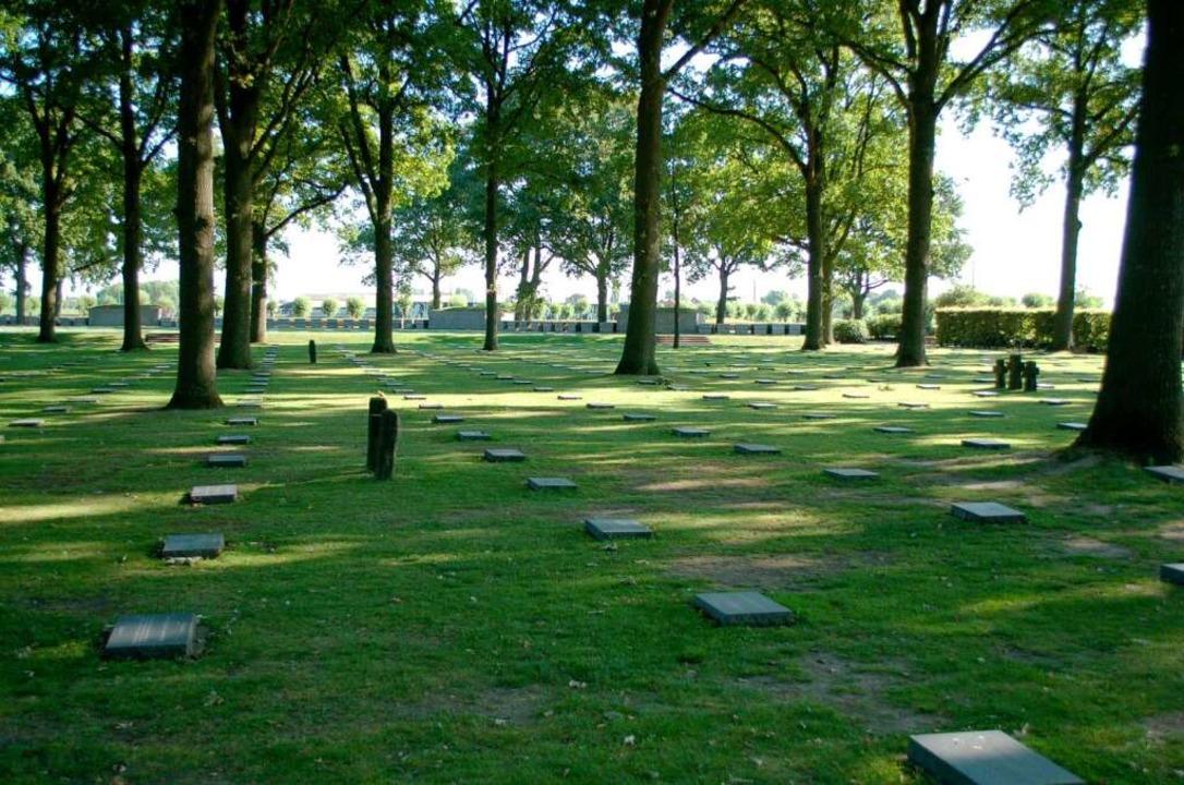Unter Eichen liegen die Grabplatten auf dem Friedhof von Langemarck.  | Foto: amp
