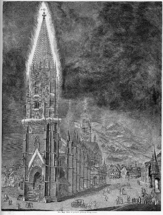 Den Münsterturm mit der Festbeleuchtun... zeigt der Kupferstich von Peter Mayer  | Foto: Archiv Kalchthaler