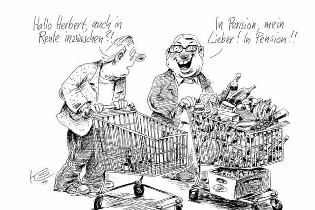 Karikatur: Rente vs. Pension