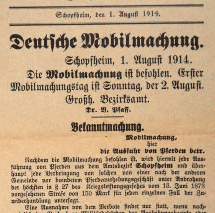 Die Mobilmachung vom August 1914, wie ...m in der Zeitung damals zu lesen war.   | Foto: A. Hönig