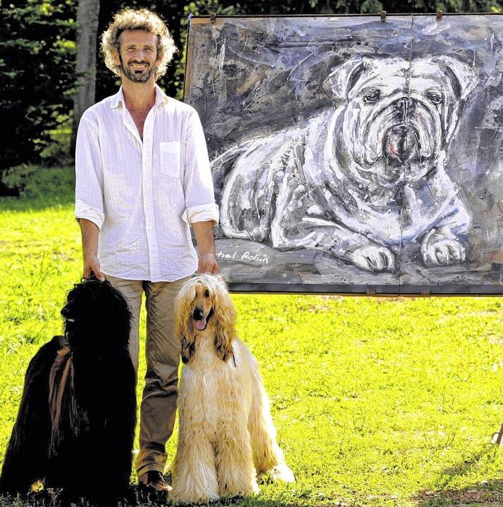 Ein Künstler, der auf den Hund gekomme...in stellt beim Windhundefestival aus.   | Foto: Veranstalter