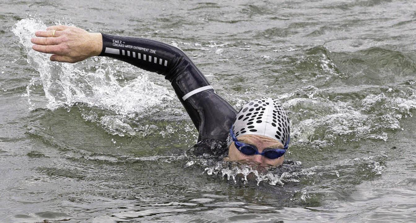 58 Kilometer schwamm  Andreas Fath auf...r 10. Etappe von Basel nach Breisach.   | Foto: Hubert Braxmaier, Hochschule Furtwangen