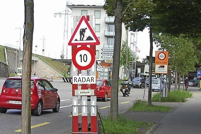 Am Grenzübergang Otterbach gilt Tempo 10