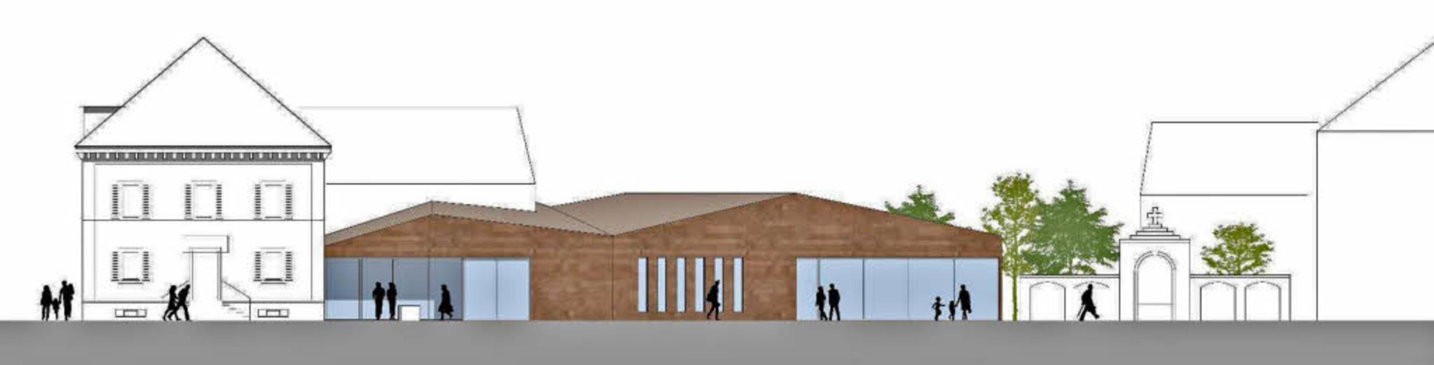 Planentwurf: Das Forchheimer Pfarrhaus...das eingeschossige Gemeindezentrum an.  | Foto: Planskizze: Büro Spiecker und Sautter