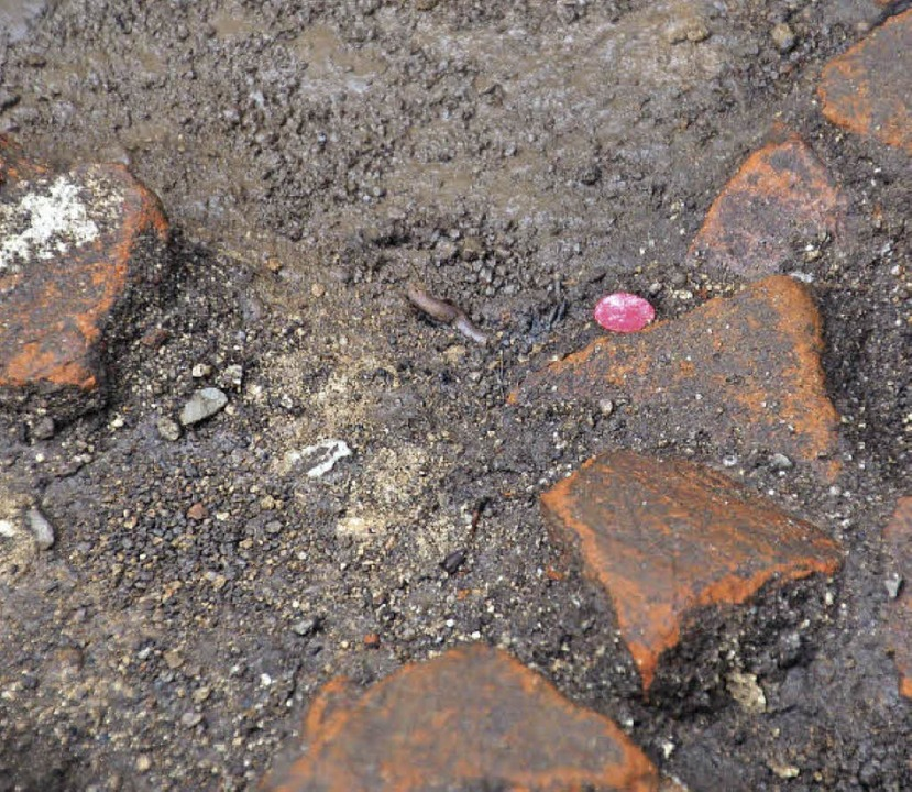 Beim Graben wurden am Montag geschmied...te helfen beim Vermessen der Grabung.   | Foto: Frank Kiefer