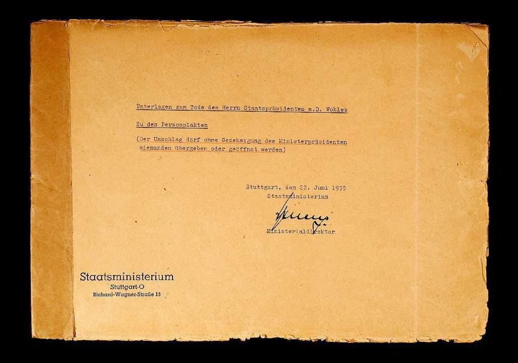Das Geheimdokument im Stuttgarter Staatsarchiv  | Foto: Hauptstaatsarchiv Stuttgart EA 1/152 Bü 1