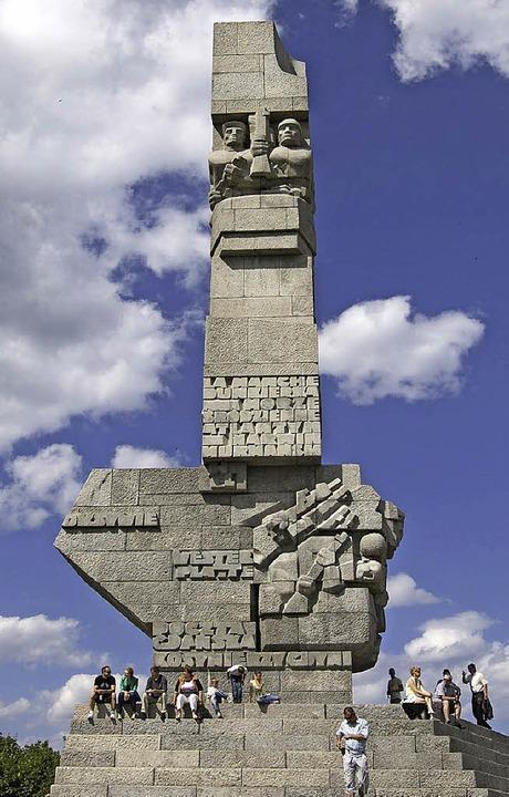 Das Denkmal auf der Westerplatte bei D...e vor 75 Jahren der Zweite Weltkrieg.   | Foto: wolf, dpa