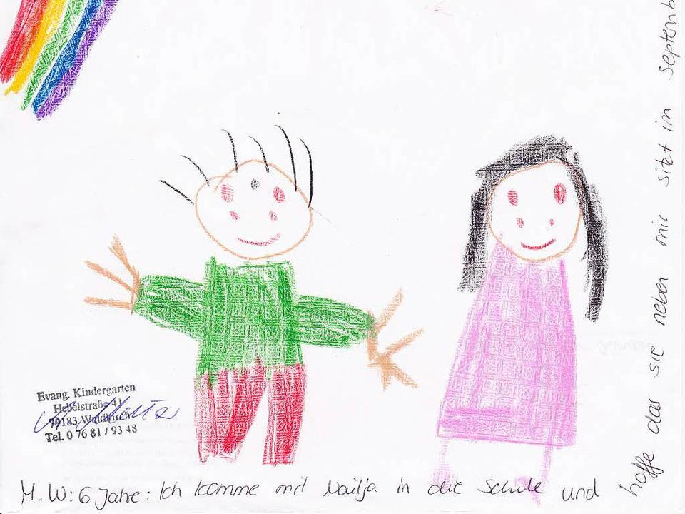 Im Kindergarten wurden Bilder gemalt, ... mit den Asani-Kinder spielen möchten.  | Foto: ZVG