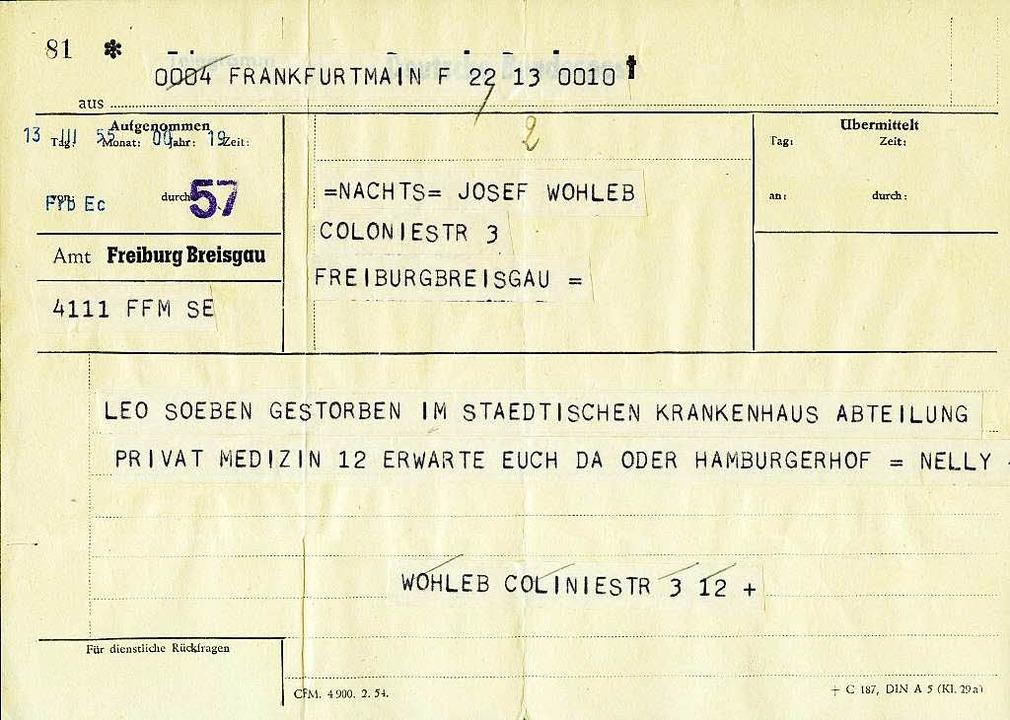 Nelly Sichlers Telegramm an Leo Wohleb...htige  Adresse ist die  Colombistraße.  | Foto: privat