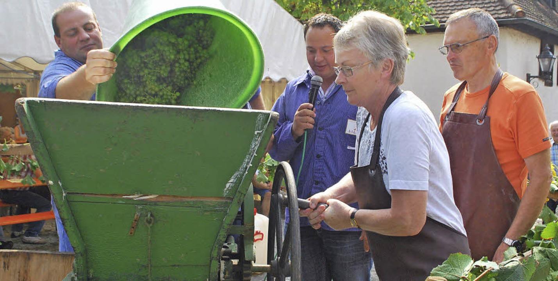 Kräftig kurbeln: Die Ernte wird beim T...früher in der Traubenmühle gequetscht.  | Foto: Benjamin Bohn