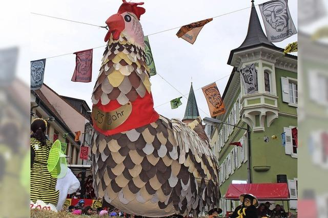 Zehn Hühner und ein Hahn
