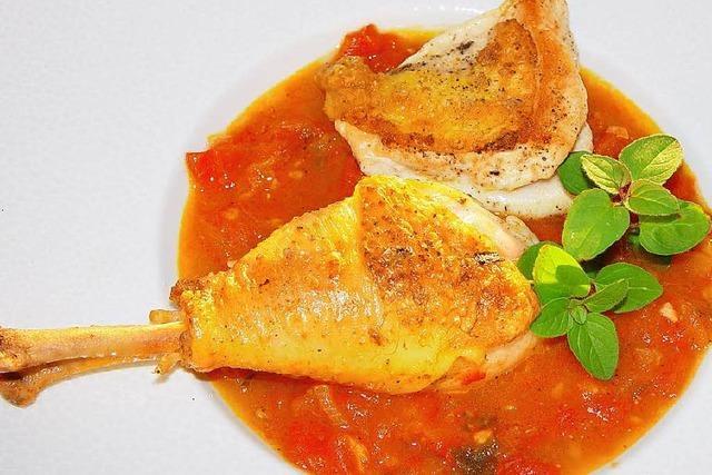 Ein Tomaten-Geflügel-Gericht für den Spätsommer