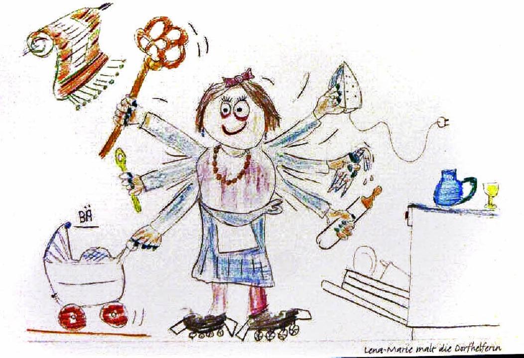 Dorfhelferin, wie sie  ein Kind erlebte und malte.  | Foto: Anne Freyer