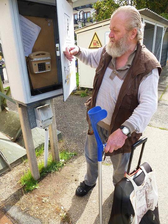 Die Sprechsäule zum Fahrdienstleiter i...e nützte Achim Beer am Freitag nichts.    Foto: Peter Stellmach