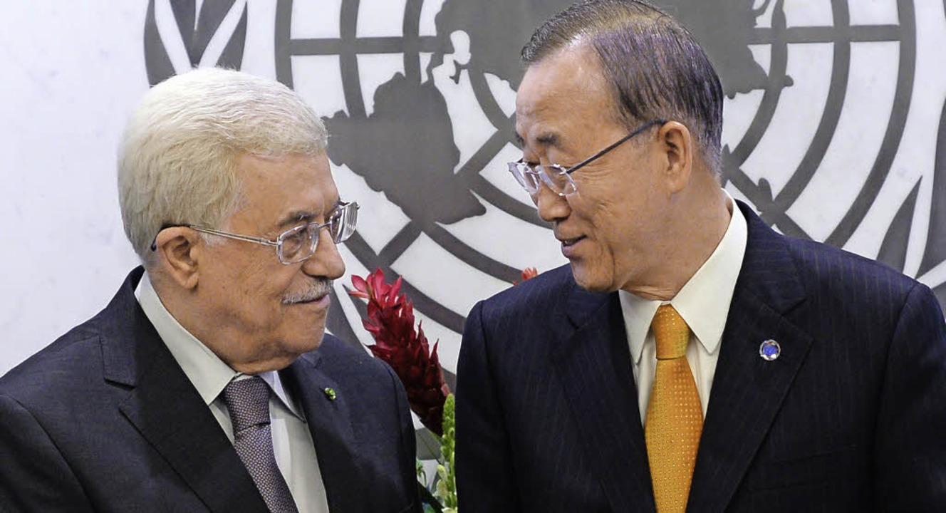 Mahmud Abbas im Gespräch mit UN-Generalsekretär Ban Ki Moon     Foto: AFP