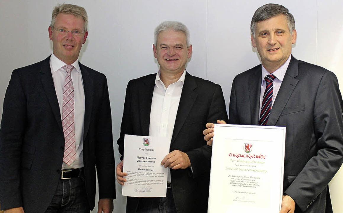 Gottenheims Bürgermeister Christian Ri...Streicher nach 20 Jahren (von links).   | Foto: mario schöneberg