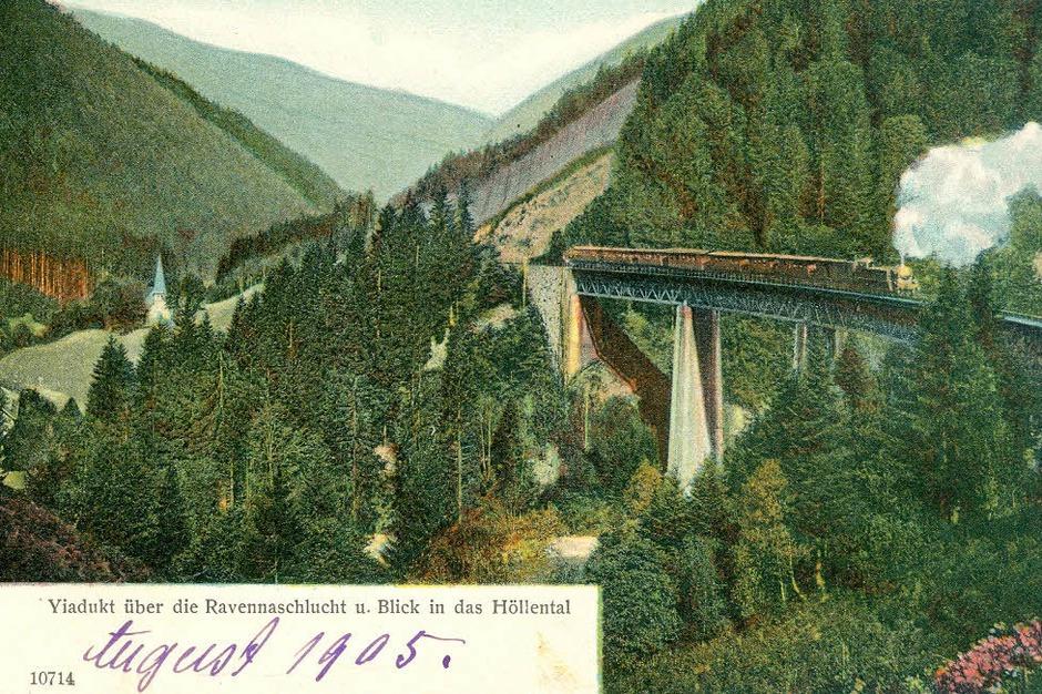 Die Ravennaschlucht mit der Höllentalbahn waren schon um 1905 ein beliebtes Motiv. (Foto: Alle Repros: Sammlung Hameister)