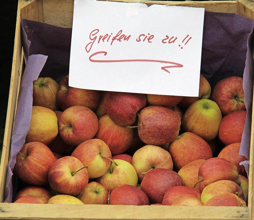 Gratis-Äpfel für die Besucher  | Foto: Alexander Huber
