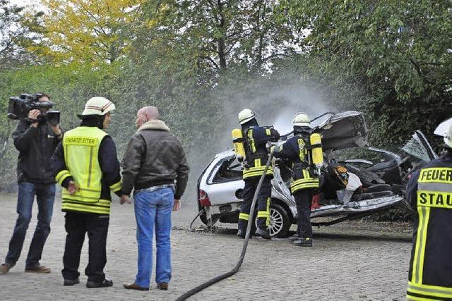 Feuerwehr Staufen löscht fürs Fernsehen
