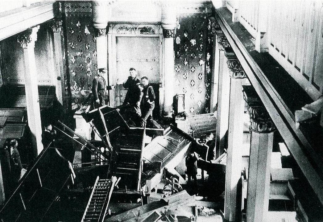 Die zerstörte Kippenheimer Synagoge na...eichspogromnacht  am 10. November 1938  | Foto: BZ