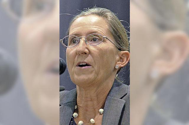 Annette Grether macht für sich Werbung